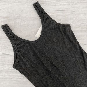 Charcoal Gray Ribbed Bodysuit